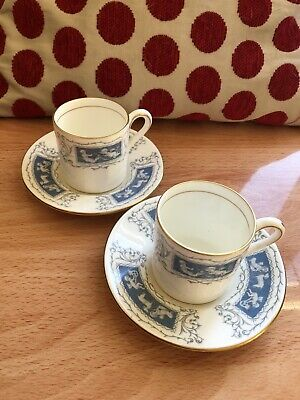 Coalport Revelry Coffee (Demitasse) Cup And Saucer X2 - Bone China • 4.50£