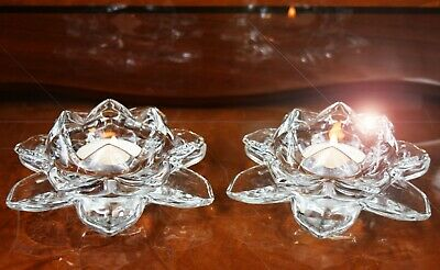 Set Of 2 Crystal Cut Lotus Flower Ornament Clear Colour Christmas Gift • 9.99£