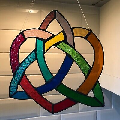 Multicoloured Rainbow Stained Glass Celtic Loveknot Heart Hanging Decoration • 28£