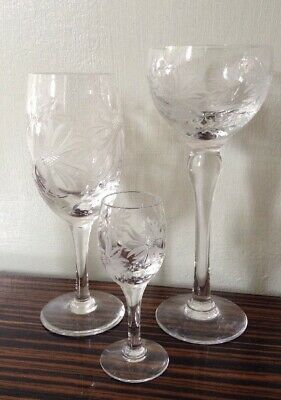 3 Vintage Royal BRIERLEY Crystal - Cut Glass Champagne Wine Sherry Glass Glasses • 34.50£