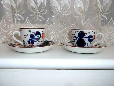 Pair Allertons Gaudy Welsh **oyster ** Cups And Saucers • 15£