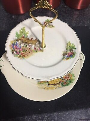 Two Tier Cake Stand Crinoline Alfred Meakin Cream Country  China Plate Vintage • 14.50£