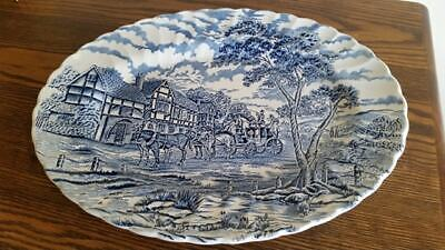 Myott Royal Mail Blue And White Large Oval Serving Platter, Meat Plate • 14.99£