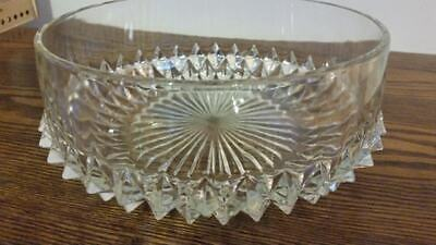Large Cut Glass Fruit Bowl, Dog Tooth Pattern • 10.99£