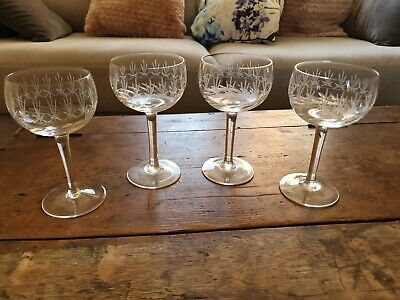 Set Of 4 Small Champagne Saucers Wheel Cut Edwardian Sliced Bowl • 42.99£