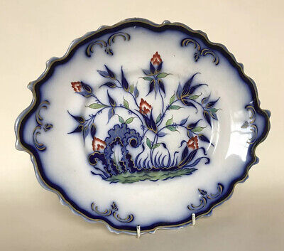 Thomas Dimmock Staffordshire Flow Blue & Polychrome 'Indian Plant' Serving Tray • 19.18£