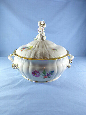 KPM Berlin German Porcelain Hand Painted Tureen With Putto Figure • 325£