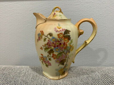 Antique German Rudolstadt Porcelain Creamer Pitcher W/ Floral Decoration • 89.87£