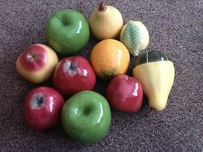Vintage Bordallo Pinheiro Portugal Artificial Ceramic Fruit  10 Display • 27£
