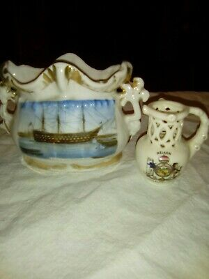 Pottery Fairing Showing HMS Victory Plus Crested  Nelson  Puzzle Jug • 22£