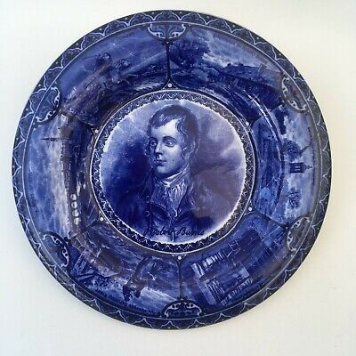 Vintage Antique Robert Burns Blue & White Plate Wall Plaque Excellent Condition • 26.99£
