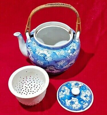 Chinese Japanese Teapot Blue And White Cane Handle And Removable Strainer • 20£