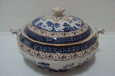 Booths Real Old Willow Vegetable Tureen With Lid A8025 Blue & White C1950 #2 • 50£