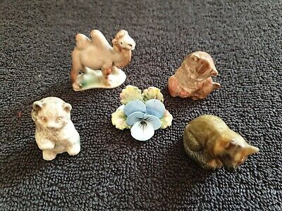 Collection Of Ceramics Wade Whimsies Camel Cats Fox And Ceramic Flower • 7.95£