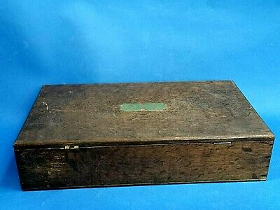 Antique Hinged Lidded Oak Storage Box / Music Box Lovely Patina Brass Plaque  • 39.99£