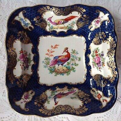 Antique Hand Painted Fish Scale Temple Bird Of Paradise Square Dish. • 35£