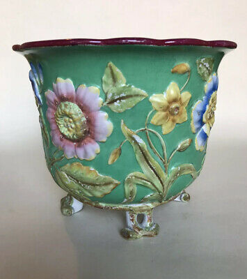 19thC Victorian Minton 'Majolica' Jardiniere - Relief Moulded Flowers & Foliage • 125£