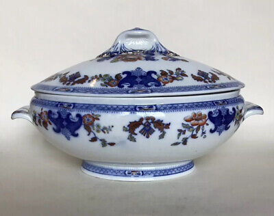 Antique Mintons Flow Blue & Polychrome Soup Tureen • 89£