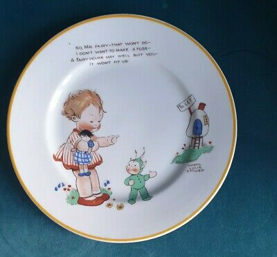 Vintage Shelly Mabel Lucie Attwell Plate  Fairies Yellow Trim Nursery Ware  • 15£
