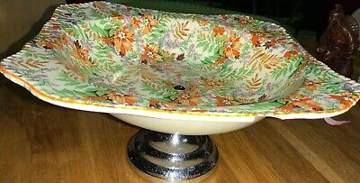 Midwinter Chintz Cakestand  With Orange,Green & Yellow Leaves Decoration • 15£