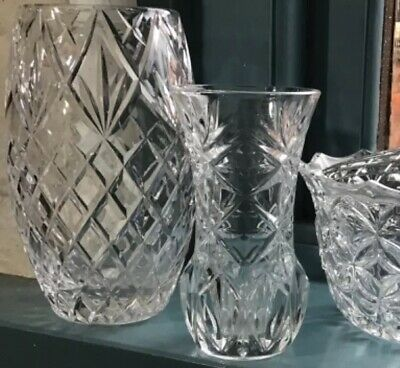 2 X Cut Glass Lead Crystal Vases And Flower Bowl Superb Quality Bargain • 12£