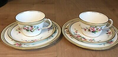 Two Stunning Antique Trios Cup Saucer Side Plate Minton Coalport ? Pattern 5819 • 24£