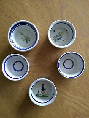 5 Vintage QUIMPER (France) Hand Painted Small Bowls • 25£