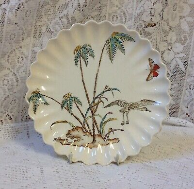 Antique Copeland Scalloped Platter, With Crane & Butterfly C1850-1867 • 15£