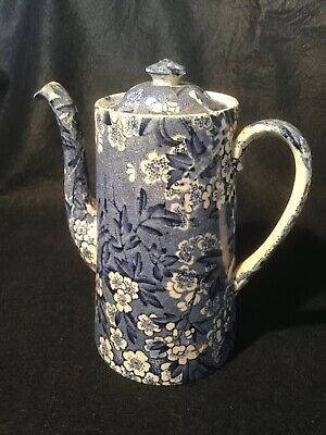Antique Blue And White 1930s Coffee Pot. May Blossom From Leighton Pottery. • 12£