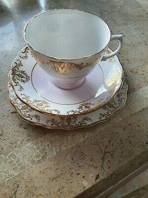 Royal Vale Bone China   Tea Trio Cup Saucer & Side Plate Pink / Gold  • 5.99£