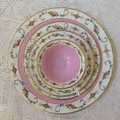 Antique Shelley C1910 Hand Painted Pink Washed, Floral Border, 4 Piece Tea Set # • 45£