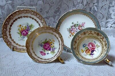 Two Vintage English 1920-30 Cups & Saucers In Victorian Style Pink & Blue Flower • 25£