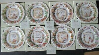 Very Rare Boxed Set Brambly Hedge 8 Recipe Plates  2003 • 925£