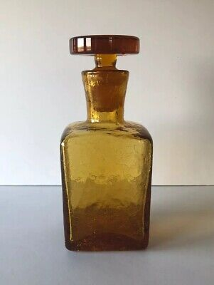 Vintage Mid Century Modern Amber Crackle Glass Square Decanter • 19.15£