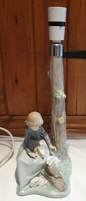Nao By Lladro Porcelain Lamp Girl With Rabbits Lamp AF Full Working Order Though • 25£