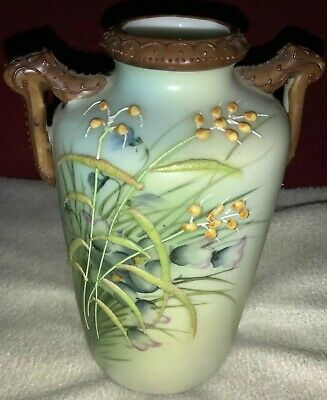 Art Nouveau A Beautiful Porcelain Vase With Relief Decoration In Lilac & Green • 39£