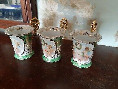 Antique Royal Vienna Cherub Cabinet Cups Marked Beehive. • 28£