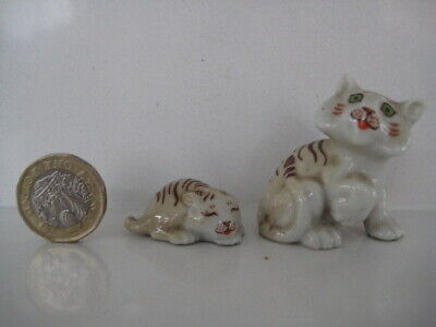 Vintage Wade Whimsies Mother Tiger & Cub Eyes Closed Happy Families 1961-1965 • 44.99£