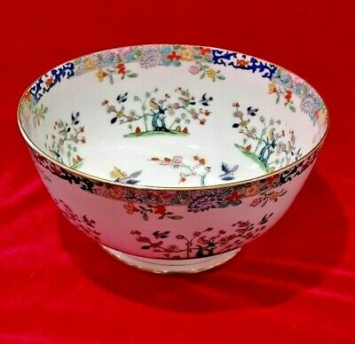 Large Antique Minton Bowl Emperor's Garden With Cobalt Scrolls Chinese Style • 85£