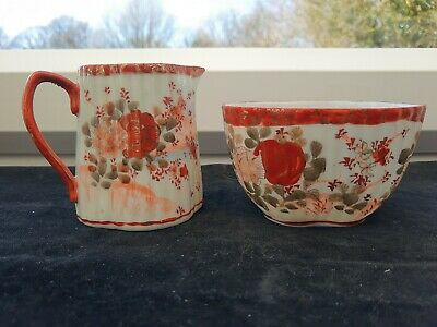 Hand Painted/Made Antique/Vintage Red White Floral Sugar Bowl And Creamer Signed • 18£
