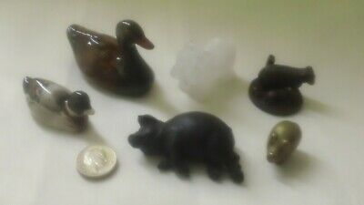 Joblot Collection Of Small Animal Figures, Brass, Coal, Alabaster • 0.99£
