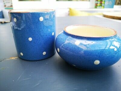 Dartmouth Pottery Pot And Bowl, Blue With White Spots • 4£