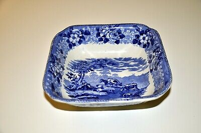 Adams Blue And White Ironstone Pottery Square Bowl With Cattle Scenes • 7.95£