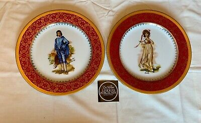 Limoges La Reine Decorative Plate - 'Blue Boy' Gainsborough And Pinky Lawrence • 6£
