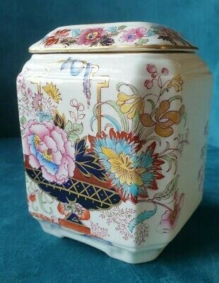 Masons Ironstone Brocade Gilt  Caddy With Lid Beautiful Condition 1920 • 18£