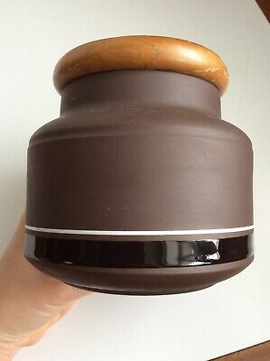 "Hornsea Contrast Brown Pottery 5"" Lidded Storage Jar / Canister Vintage Retro • 10£"