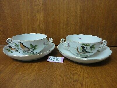 2 X Soup Coupes / Bowls & 16 Cm Saucers - Herend Rothschild Birds • 59.95£