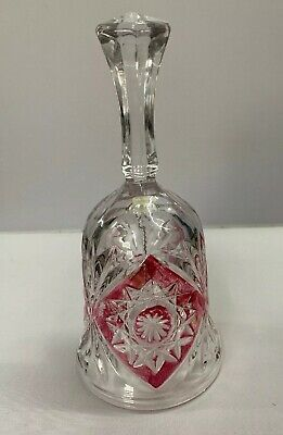 Vintage Anna Hutte Bleikristall Lead Crystal & Cranberry Red Bell • 5£
