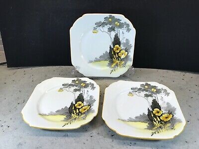 RARE Shelley12159 Set Three Side Plates In Excellent Condition Art Deco 1930's • 15£