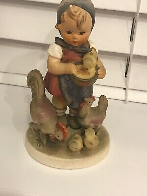 Vintage Hummel,Goebel Girl Figurine With Chickens Feeding Time Perfect • 12£